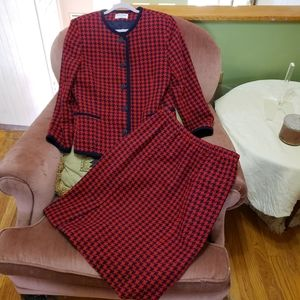 Vintage 90s Blue Red Houndstooth Skirt Suit